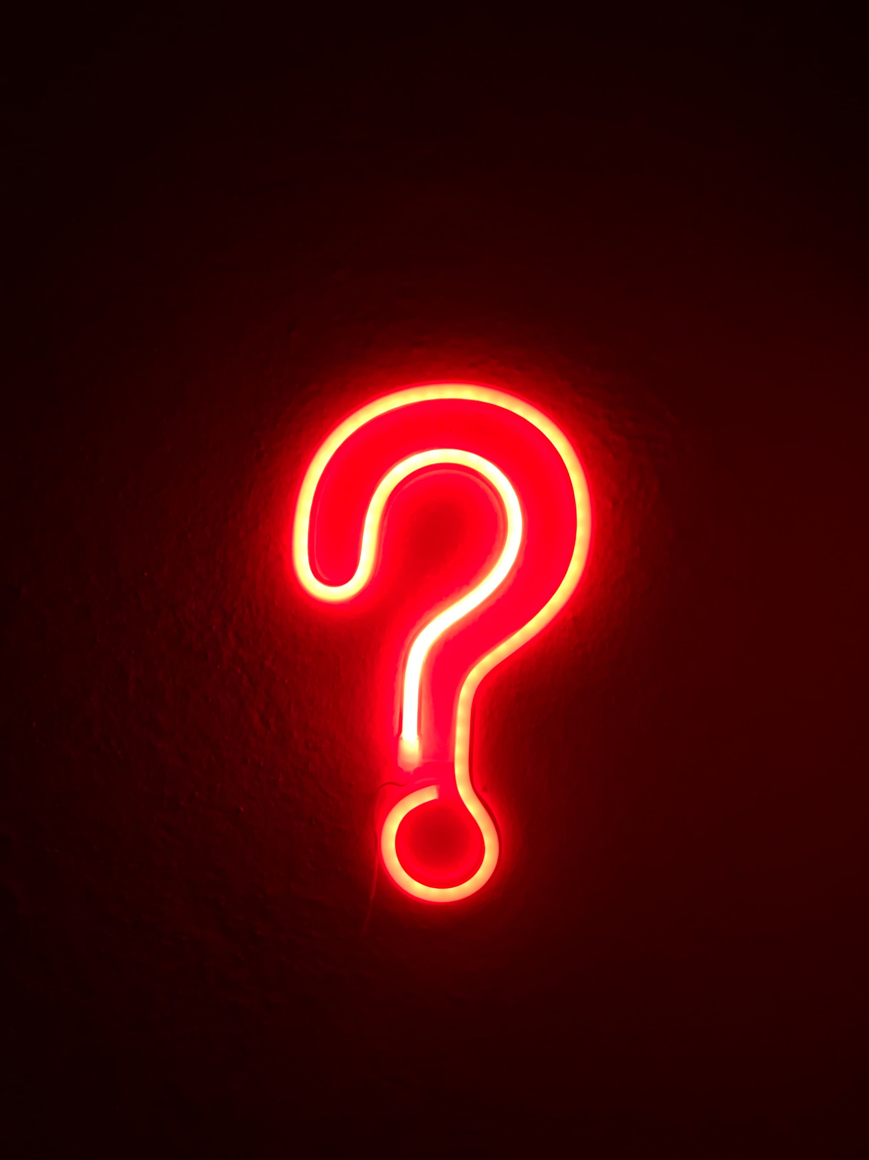 orange question mark in lights