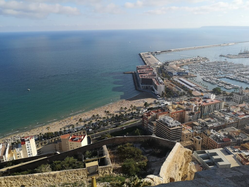 Alicante view from the fort towards sea and port
