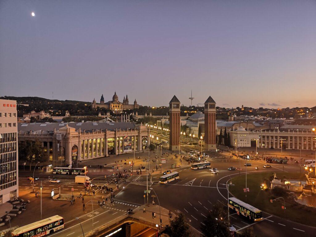 Barcelona skyline Spain twilight