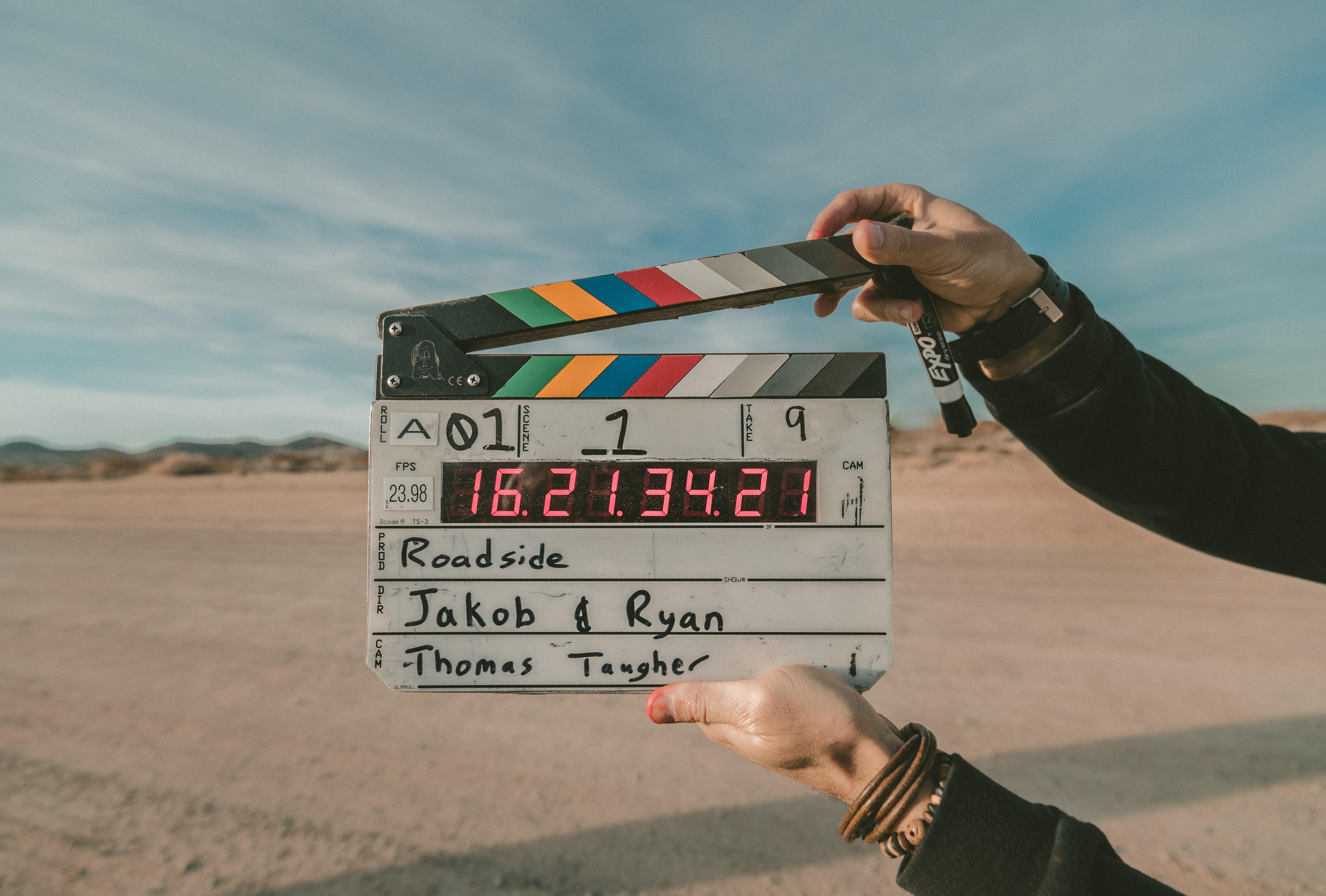 Movie clapperboard on set
