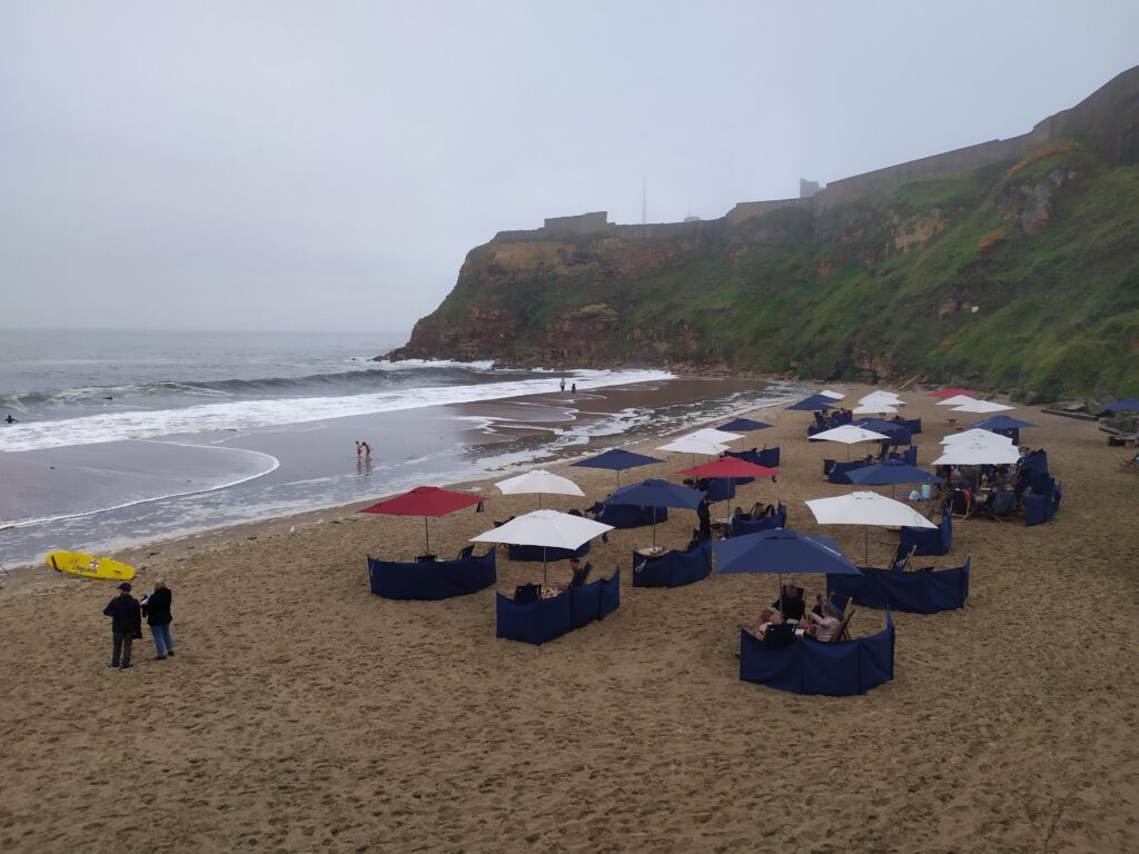Drizzly day at the beach Newcastle